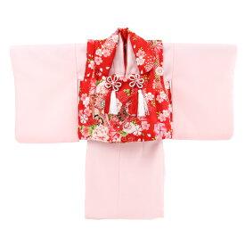 【レンタル】〔za2〕祝着 1歳 女の子 着物 二部式着物 被布セット「ピンク無地着物に赤被布(御所車と鼓)」ひな祭り 衣装 往復送料無料 初節句
