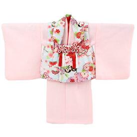 【レンタル】〔za2〕祝着 1歳 女の子 着物 二部式着物 被布セット「ピンク無地着物に水色被布(花車と牡丹)」ひな祭り 衣装 初節句