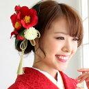 髪飾り成人式袴「椿2輪と丸菊の金タッセル付髪飾り」振袖コームコサージュアートフラワー赤ゴールドヘアアクセサリー