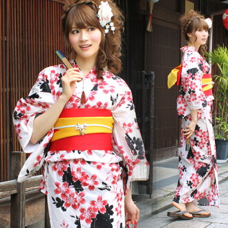 "Yukata set ladies tailoring up Japanese yukata belt clogs Womens retro cherry ""off-white in the red cherry pattern."