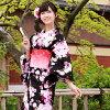 "Yukata set women making belt high grade still weave yukata 7 piece set ""black fringes and angled flower ' yukata belt clogs Womens retro stripe"