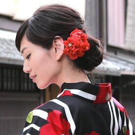 浴衣 髪飾り クリップ「2種類の小花とふんわりアートフラワー」3色 夏祭り 花火 盆踊り お祭り 鮮やか 花 赤 ピンク スモークピンク