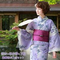 浴衣セット高級綿麻浴衣3点セット「生成り地に紫ぼかし花」【あす楽】