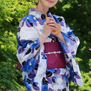 浴衣セットレディースレトロ高級変わり織り綿浴衣3点セット「紺地に青・紫の大椿」浴衣紺椿青