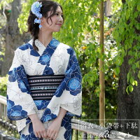 浴衣レトロレディースセット染色&生地が日本製高級綿絽浴衣3点セット「ベージュに薔薇」浴衣クリームアイボリー浴衣薔薇紺青