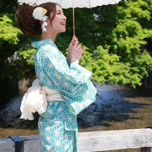 浴衣レトロレディースセット綿麻浴衣3点セット「アイボリーに水色の麻の葉」浴衣水色麻の葉へこ帯