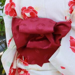 【5月10日前後より順次発送】浴衣セットレディースレトロ2017高級綿麻浴衣3点セット「生成り地に赤と白の椿」浴衣帯下駄女性浴衣セットゆかたユカタ