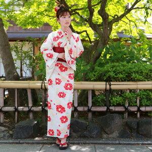 浴衣セットレディースレトロ2017高級綿麻浴衣3点セット「生成り地に赤と白の椿」浴衣帯下駄女性浴衣セットゆかたユカタ