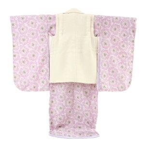 【七五三着物フルレンタルセット】七五三着物3歳レンタル女の子被布着物10点セット「薄ピンク地に花/被布:生成り」JILLSTUARTピンクレトロ
