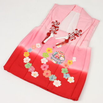 Hand-drawn Yuzen silk 被布 coat ( pink red ball and flower ) 七五三 ringtone thing 3 years 3 years 七五三 kimono perfect!