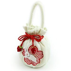 七五三女の子用ウサギとイチゴの飾り付き巾着ちりめん三歳七歳うさぎいちご桜絞り鹿の子巾着袋小物