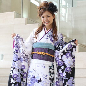 【レンタル】【最大20日間】 振袖 レンタル 成人式 セット 20点フルセット 派手 「白 紺 青 紫 牡丹 蝶 モダン」 成人式から結婚式やフォーマルまで。 着物 kimono フリソデ ふりそで rental れんたる せいじんしき セイジンシキ バッグ