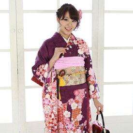 【レンタル】【最大20日間】 振袖 レンタル 成人式 セット 20点フルセット 「紫 オレンジ 桜 蝶 鹿の子 レトロ」 成人式から結婚式やフォーマルまで。 着物 kimono フリソデ ふりそで rental れんたる せいじんしき セイジンシキ着物レンタル 貸衣装