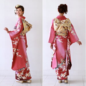 正絹振袖レンタル成人式セット20点フルセット「ピンク赤桜撫子」成人式から結婚式やフォーマルまで着物kimonoフリソデふりそでrentalれんたるせいじんしきセイジンシキ着物レンタル貸衣装【03P12Oct15】