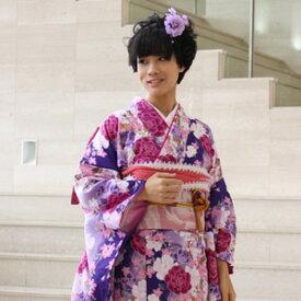 【レンタル】【最大20日間】 振袖 レンタル 成人式 セット20点フルセット「紫 パープル ピンク ローズ 白 ホワイト 薔薇 バラ 桜」成人式から結婚式やフォーマルまで。 着物 kimono フリソデ ふりそで rental れんたる せいじんしき セイジンシキ