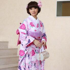 【レンタル】【最大20日間】 振袖 レンタル 成人式 セット20点フルセット「白 ホワイト 紫 パープル ピンク 牡丹 桜 菊」成人式から結婚式やフォーマルまで。