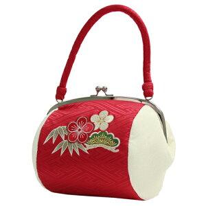 成人式 振袖用 がま口バッグ「赤地に紗綾形と松竹梅刺繍」和装バッグ 成人式 バッグ 振袖 着物 和装 和服 花柄 レトロ〔zu〕