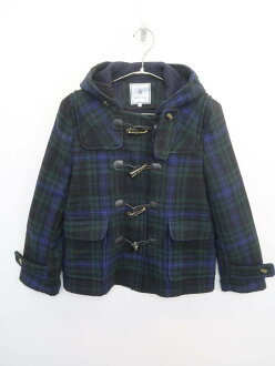 ROPE' PICNIC (ロペピクニック) フーディ-チェックダッフルコート long sleeves dark blue / green Lady's A rank 38