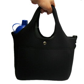 お散歩バッグネオプレーン・ブラック【E】ウェットスーツ素材の洗えるお散歩バッグ!テトラとセットで必須アイテム!ショルダーベルト付き♪