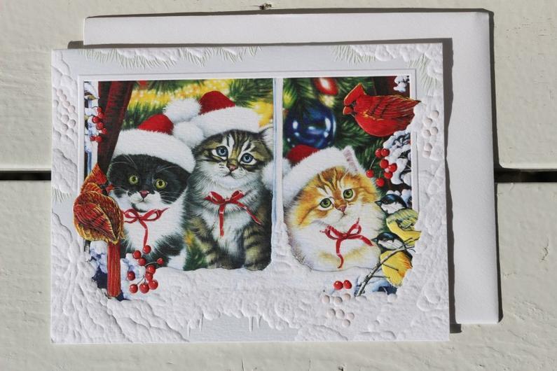 窓辺の子猫達のクリスマスカード【キャットグッズ ネコ】【クリスマス カード メッセージ 可愛い】メール便選択で送料160円