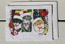 窓辺の子猫達のクリスマスカード【キャットグッズ ネコ】【クリスマス カード メッセージ 可愛い】メール便選択で送…