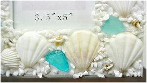 貝殻の卓上フォトフレーム(スクエア型)
