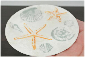 ヒトデと貝殻柄カピスペントレイ