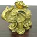 (財運UP ゾウに乗っている 銭カエル)カエル 置物 カエル グッズ 雑貨(バリ雑貨 アジアン雑貨)風水にもおすすめのカエ…