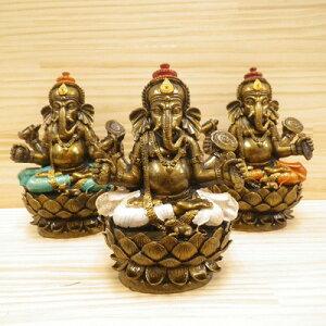 【レジン製 ロータス台座に座している ガネーシャ 置物[ホワイト・グリーン・オレンジ]】インドの神様 ガネーシャ 置物 夢をかなえるゾウ 象の神様 ゾウの神様 学問の神様 仏像 フィギュア