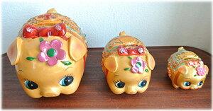 金運UP!お花を付けた金豚の貯金箱