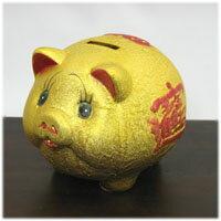 金運UP!金の豚の貯金箱
