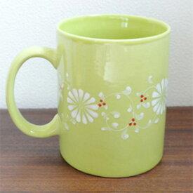 【フラワーマグカップ[グリーン]】持ち手の付いたお花柄の大きなマグカップ。高温焼きした陶磁器なので従来のバッチャン焼きよりも丈夫です!(ベトナム バッチャン焼き バッチャン焼 茶器 ベトナム雑貨やアジアン雑貨 バッチャン マグカップ おしゃれ)