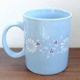【フラワーマグカップ[ブルー]】持ち手の付いたお花柄の大きなマグカップ。高温焼きした陶磁器なので従来のバッチャン焼きよりも丈夫です!(ベトナム バッチャン焼き バッチャン焼 茶器 ベトナム雑貨やアジアン雑貨 バッチャン マグカップ おしゃれ)
