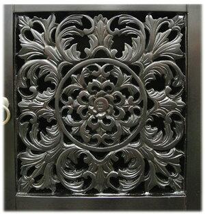オリエンタル調花の彫刻扉TVボード