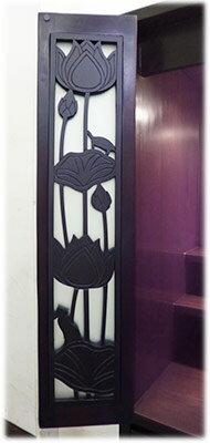 照明棚付+スライド棚付+ロータスアニマル彫刻入り扉仏壇(扉彫刻二重)