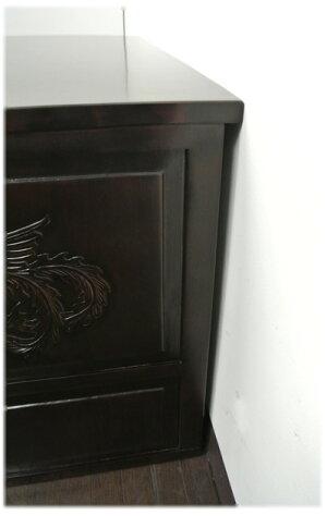 鳳凰と龍の彫刻入り5引き出し格子観音扉TVボード