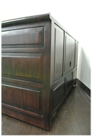 7引き出し蓮彫刻扉TVボード