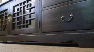 格子観音扉4引出TVボード