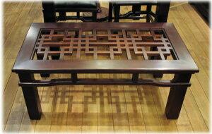 格子ガラスローテーブル