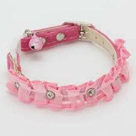 【クーポン有】 キャットカラー レースM ピンク首回長20〜25cm W24852 猫用首輪 わんぱく お試し AM0