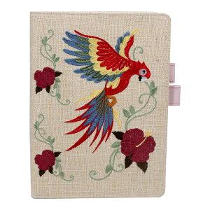 ブックカバー 手帳カバー 刺繍 布製 綿麻 オリジナル手作り インコ 花 上品 高級 多機能ポケット カード入れ 名刺入れ 文庫サイズ A5サイズ B6サイズ 通勤 通学 プレゼン