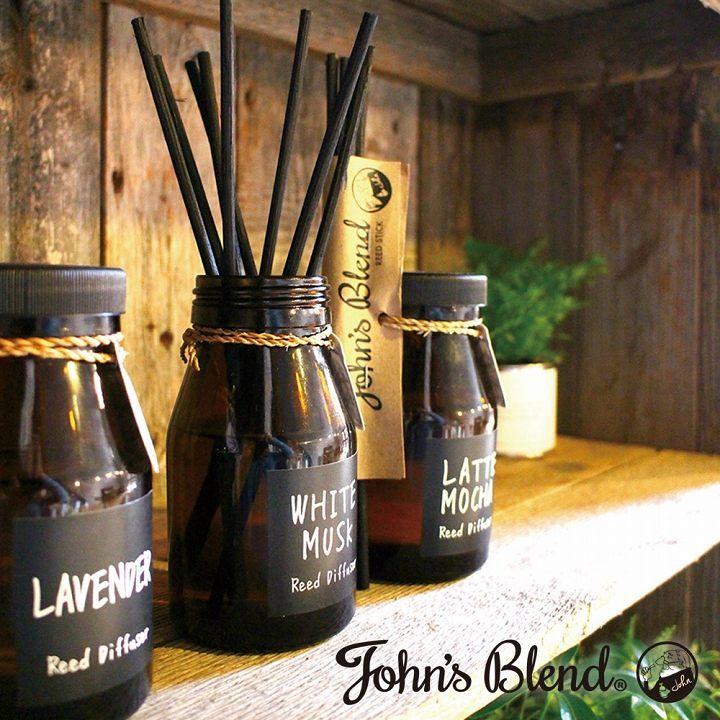 ノルコーポレーション ルームフレグランス リードディフューザー John's Blend 140ml ホワイトムスク OA-JON-6-1| JohnsBlend 芳香剤 車 部屋 トイレ オフィス 置き型 いい香り 人気 車の香り お部屋の香り 可愛い