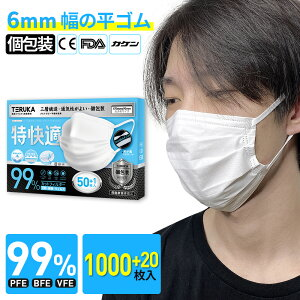 【3日以降に発送】TERUKA マスク 大人用 個包装 1000+20枚 大きめ 175mm 使い捨てマスク 男性用 女性用 マスクゴム プリーツ 不織布マスク 送料無料 メルトブローン フィルター ほこり ウイルス 花
