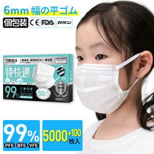 【3日以降に発送】TERUKA 使い捨て マスク 小さめ 個包装 子供用 5000+100枚 マスク 中学生用 マスク平ゴム プリーツ 不織布マスク 送料無料 メルトブローン フィルター 145mm*90mm ほこり ウイルス