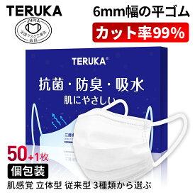 【翌日発送】TERUKA マスク 50枚+1枚 個包装 175mm 165mm 145mm 大人用 女性用 男性用 不織布マスク メルトブロー不織布 フィルター ほこり 花粉対策 飛沫防止 防護マスク BFE/PFE/VFE99%日本機構認証あり
