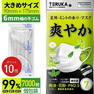 【翌日発送】TERUKA 夏用 マスク 7000枚 大きめ 175mm 個包装 使い捨てマスク 平ゴム 大人用 男性用 女性用 普通サイズ プリーツ 不織布マスク 送料無料 メルトブローン フィルター ほこり ウイル