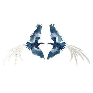 アイロンワッペン 鳥 動物 鶴 大 一対 縦22cm 横30cm