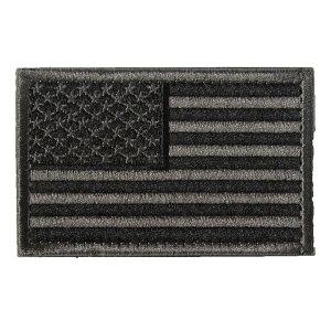 ベルクロワッペン 国旗 アメリカ 星条旗 黒灰左 縦5cm 横8cm