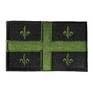 ベルクロワッペン 州旗 ケベック 黒 縦5cm 横8cm