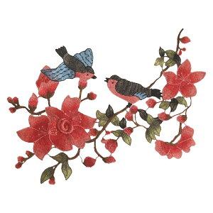 ワッペン 花 鳥 刺繍 朱 46 縦40cm 横30cm